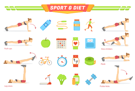 Sport and diet exercises poster with isolated icons vector. Push ups and leg raises, slow climber and plank, flutter kicks. Food and sportive items