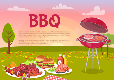 BBQ beef roasting meat poster. Grille beefsteaks cooking in park. Picnic with served plates, hamburger and grilled vegetables with sauces vector