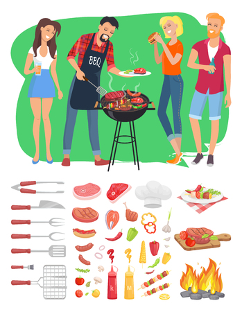 BBQ Barbecue People and Tools Vector Illustration Standard-Bild - 112086751