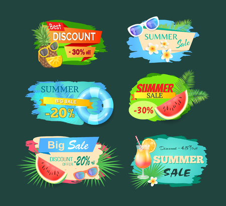 Summer discount sale banner set isolated vector. Pineapple and watermelon, sunglasses and cocktail with straw and orange slice, flowers and lifebuoy Illustration