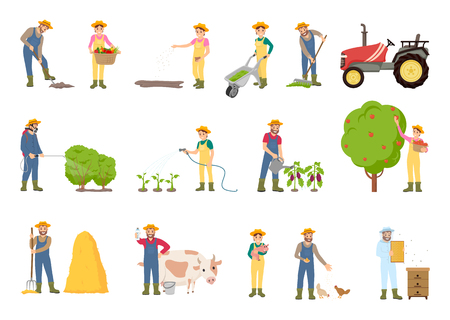 People working on farm, in garden, vector banner. Farmer cares of domestic animals, water the plants, with farming equipment, wheelbarrow and tractor Illustration