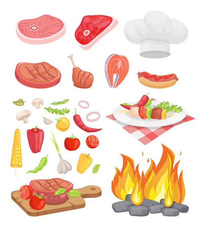 BBQ set, meat and spice vector. Beef and fish steak, hot dog and chicken, veggie and herbs, dish on plate and cutting board, bonfire and headpiece