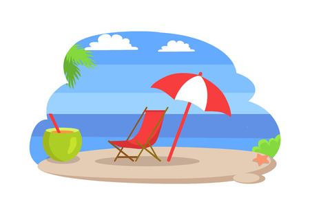 Seaside sunny sandy beach island isolated vector. Umbrella and chaise longue deck chair and cocktail with straw. Tropical beverage and exotic holiday