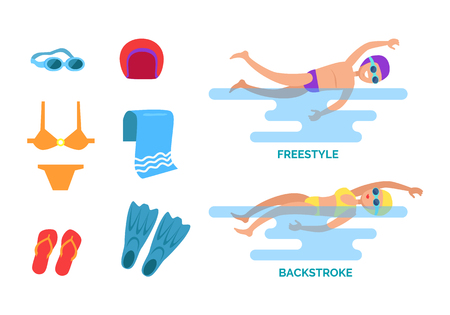 Backstroke and freestyle set isolated icons vector. Man and woman showing swimming styles goggles and hat, flippers and flip flops, towel and swimsuit