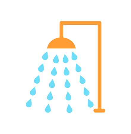 Shower Emblem Isolated Vector Icon Cartoon Style Illustration