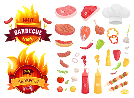 Hot BBQ barbecue isolated icons set vector. Meat slices, beef and pork, roasted salmon and vegetables. Sauces in bottle and brochette skewer sausages Foto de archivo - 127700122
