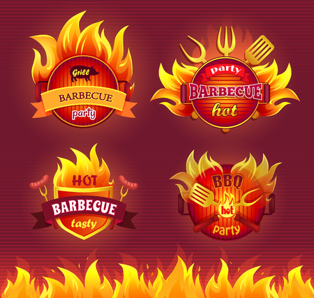 Grill barbecue party hot isolated icons set vector. Flames and frying pan, dinnerware and cutlery for barbeque. Spatula and sharp forks with sausages