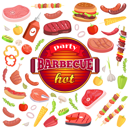 Party barbecue hot isolated icons set vector. Frying pan and text on ribbon. Sauce and meat types, hamburger dish and roasted sausage with brochette