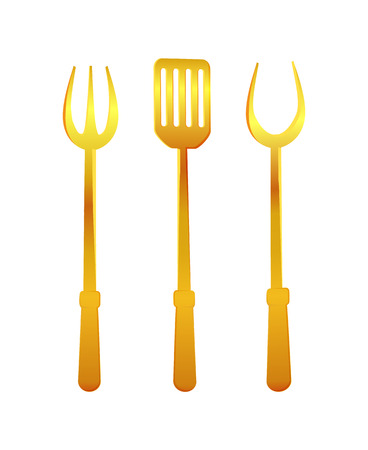 Spatula and Fork Gold Tools Vector Illustration