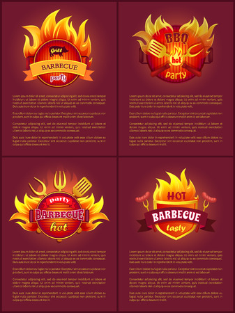 Grill Barbecue Party Tasty Set Vector Illustration Ilustrace