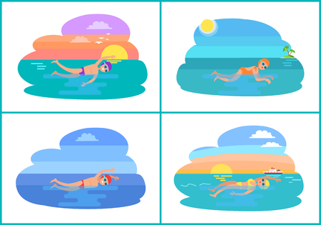 Butterfly and backstroke styles set vector. Swimming professionals training in water, active people. Breaststroke and freestyle exercises of strokes