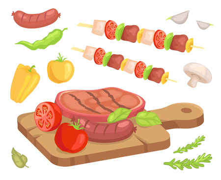Beefsteak roasted meat isolated set of icons vector. Wooden cooking board with well done beef with sausages. Skewer with mushrooms and paprika peppers Ilustração