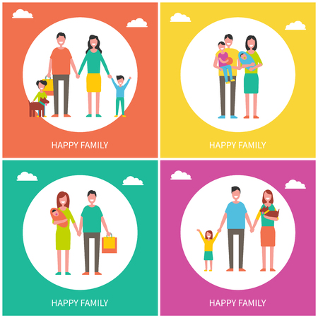 Family Couples Posters Set Vector Illustration