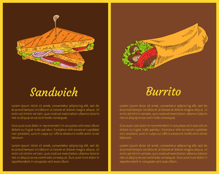 Sandwich with Burrito Isolated on Dark Backdrops