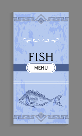 Interesting Idea for Fish Menu with Decoration Stock Photo