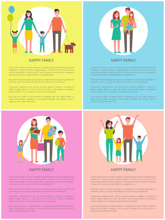Happy Family Set of Posters Vector Illustration