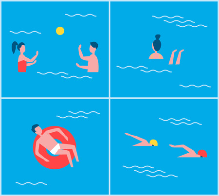 Swimming Pool Activities Set Vector Illustration
