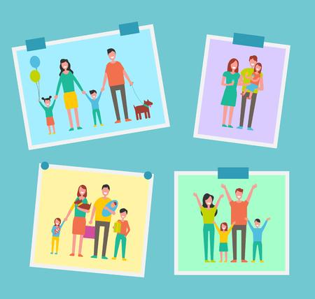 Family Happy People Pictures Vector Illustration 版權商用圖片