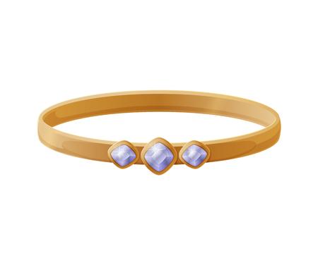 Gold Platinum Jewellery with Sapphire Gem Vector Foto de archivo - 112086753