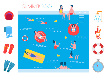 Summer Pool Basin and Icons Vector Illustration