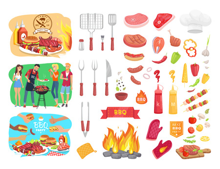 BBQ Party Barbecue and People Vector Illustration