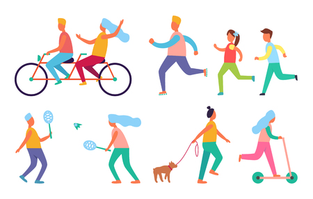 People Outdoor Activities Hobby Icons Vector Set