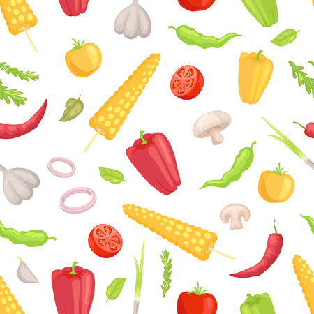 Vegetables veggies seamless pattern. Garlic corn and sweet spicy pepper paprika mushroom tomato slice. Herbs and condiments onion rings vegs vector Illustration