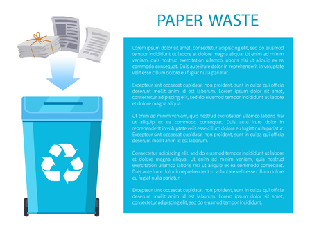 Paper Waste Poster with Info Vector Illustration
