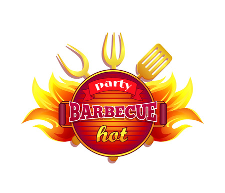 Party barbecue hot BBQ isolated icon vector and text. Barbeque frying pan with spatula and forks. Cutlery and dishware with flames fire, grilling meal Archivio Fotografico - 127700130