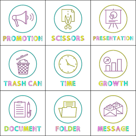Promotion and presentation on whiteboard. Trash can and time clock showing hours and minutes. Document folder and message growth set of icons vector