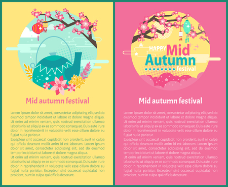Happy mid autumn festival with text sample. Paper lanterns Chinese teapot and floral elements. Sakura in blossom flying birds and clouds set vector Banque d'images - 127672932