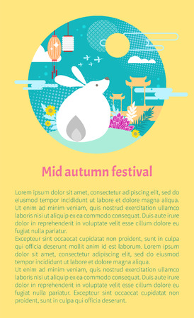 Mid autumn festival vector informative poster with thematical clip art. Mythical moon rabbit on hill covered with greenery, and chinese flying lantern