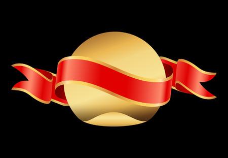 Glossy Blank Ribbon for Banner and Gold Circle
