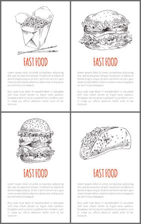 Fast Food Hamburger Poster Set Vector Illustration Illustration