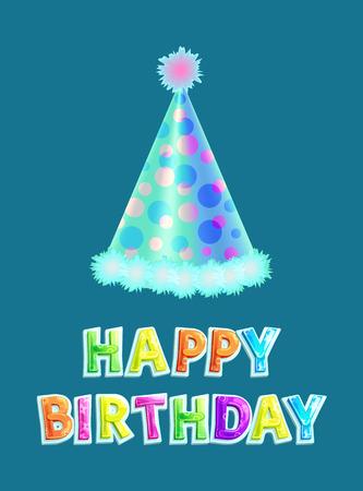 Poster di buon compleanno con tappo a cono e testo multicolore. Cappello celebrativo con motivo a pois e pallina in alto. Vettore di cartolina di congratulazioni