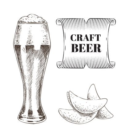 Craft beer and fried chips set. Alcoholic drink beverage with foam and snack made of potato. Monochrome sketches outline colorless drawn icons vector Illustration