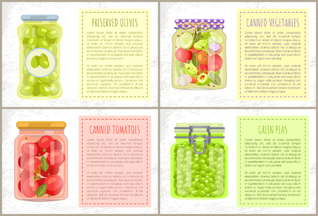 Preserved green olives labeled jar, canned tomatoes and vegetables with spicery, pickled green peas. Vector poster with marinated veggie nutrition.