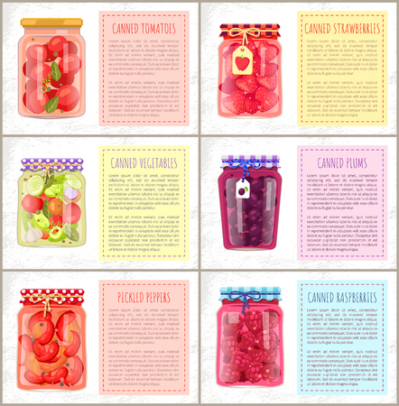 Canned vegetables and fruits, strawberries and blueberries, plums and pickled peppers. Spicery and sweet homemade preservations set poster with text. Çizim