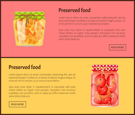 Preserved food web banners with fruit or vegetables. Oranges in juice and marinated chili pepper inside jars online pages vector illustrations set.