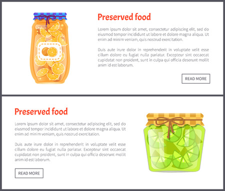 Preserved food in jars web Internet banners set. Ripe orange and lime slices canned product online pages, fruit with juice, vector illustrations.