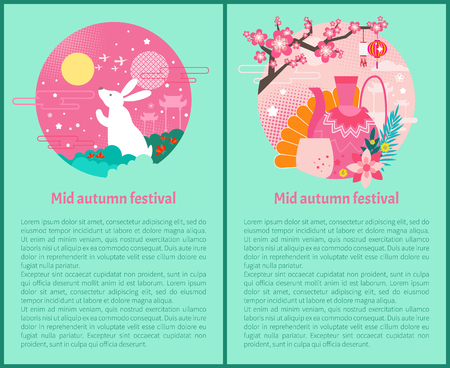 Mid autumn festival posters set. Bunny rabbit and flowers in sky. Architectural type of China teapot cup and hand fan. Sakura tree blooming vector Banque d'images - 127672946