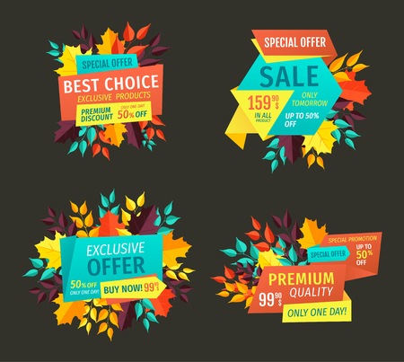 Best choice exclusive offer sale autumnal proposition. Premium quality reduced price autumn proffer seasonal shopping trade banners and leaves vector Illusztráció