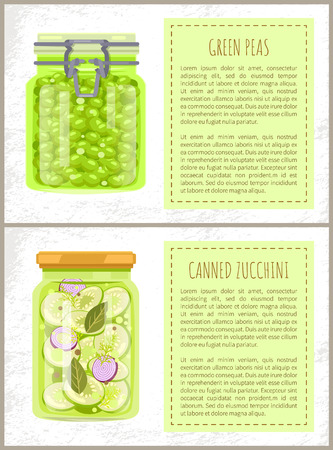 Green peas and canned zucchini in jars banners set. Conserved vegetables with spices inside glass containers, preserved food, vector illustrations.