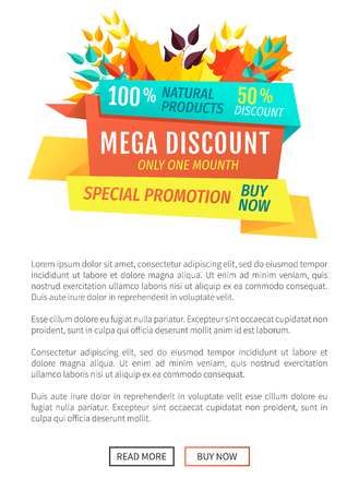 Mega discount exclusive offer poster and banner with autumn leaves. Autumnal proposition clearance premium quality reduced decreased price vector