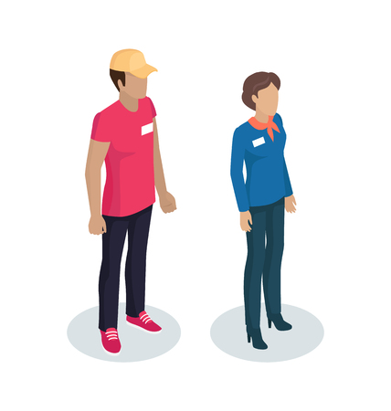 Delivery man standing with manager wearing uniform having name badge on blue jacket. Woman with handkerchief on neck 3d isometric isolated on vector