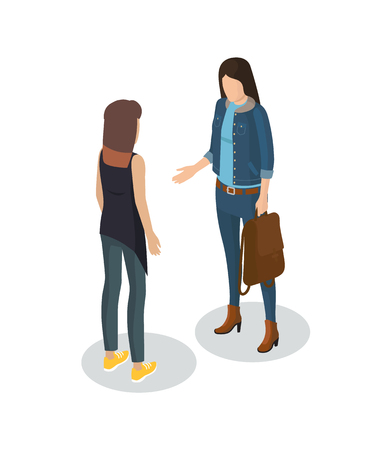 Photographer woman and client professional worker meeting customer. People having deal person holding bag handshake 3d isometric isolated on vector