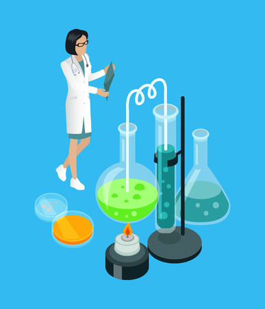 Medical worker with x-ray and substances in containers. Chemical researches and analysis. Woman scientist in laboratory isometric 3d icons vector