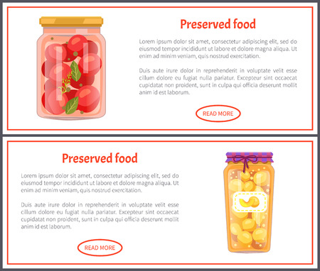 Preserved food banners with tomatoes and peaches. Vegetable in marinade, sweet fruit jam inside jar, text on web poster vector illustrations set. Stok Fotoğraf - 127672957