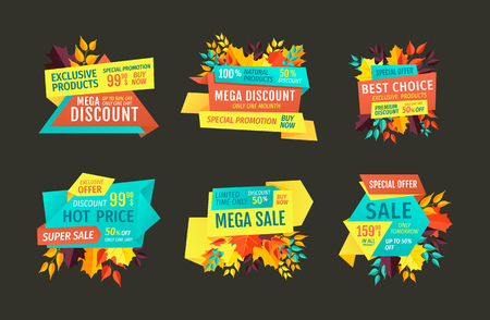 Mega discount hot price set promotion in autumn. Shopping on reduced price autumnal proposition. Natural products super sale retail sellout vector