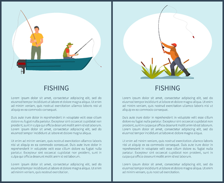 Fishing passtime hobby or time spending poster with text sample, Fishery flyer with fishman and rod in motorboat and guy throwing tackle with bait. 版權商用圖片 - 112097581